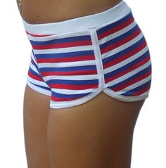 Red, white and blue 80's striped track shorts. Show your Merican colors! www.bulletboutfits.com