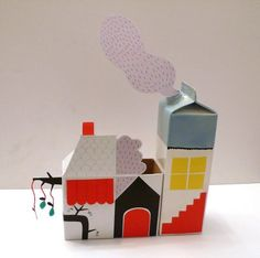 Turn milk cartons and packaging into a lovely village.