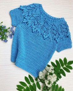 Crochet a beautiful yoke 0 Crochet Turban, Crochet Blouse, Crochet Yarn, Crochet Stitches, Knit Crochet, Crochet Summer Tops, Crochet For Kids, Crochet Wrap Pattern, Crochet Patterns