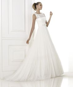 silk chiffon wedding dress with boat neck front - Google Search