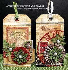 christmas tags with paper rosettes and snowflakes
