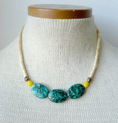 Turquoise and Yellow Collar Summer Statement Necklace