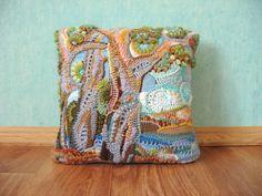 OOAK Crochet freeform ART pillowcase The Mediterranean ♥ by Svyazka, $200.00