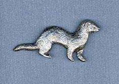Ferret Pin by George Harris. $9.95. Made with surprising detail, each Ferret pin is perfect for men and women. Cast from pewter, a jewelry metal which maintains its antiqued look, and secured with two push-on clasps to prevent rotation, these Ferret pins make a great decoration for your jacket, vest, hat, lapel, etc. A great collectible or makes a nice gift for animal enthusiasts. Approximate size on the Ferret pin is 1 3/4 x 1 1/8 inches.