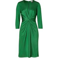 ISSA Green 3/4 Sleeve Gathered Silk Jersey Dress ❤ liked on Polyvore