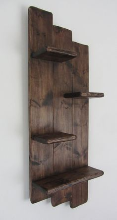 Handmade from recycled pallet wood. Dimensions : approx 82 cm tall x 28 cm wide x 14 cm deep . Hanging Wood Shelves, Diy Wood Shelves, Rustic Shelves, Display Shelves, Diy Wooden Projects, Reclaimed Wood Projects, Wooden Diy, Salvaged Wood, Rustic Wood Crafts