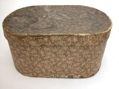 Circa 1825: Large wallpaper box with floral paper