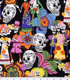 Novelty Cotton Fabric-Los Novios I would use this fabric for a dress or PJ pants.