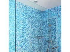 Brio Blend Glass Mosaic Tile in Cool Pool