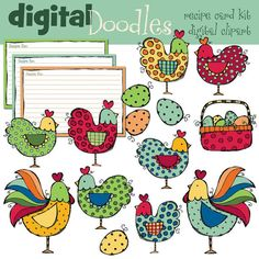 COMBO Hens and roosters digital clip art and black by kpmdoodles, $5.00