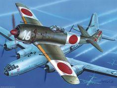 "Nakajima Ki-84 Hayate ""Frank"" of the 1st Fighter Operational Training Unit engaging B-29 Superfortress of unknown unit"