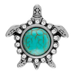 Turtle Turquoise Snap. 18mm size.