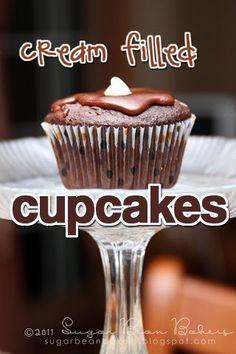 Sugar Bean Bakers: { Cream Filled Chocolate Cupcakes }
