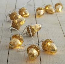 Gold Glass Acorn Battery Christmas Lights