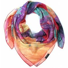 Feather Fantasy Silk Scarf Red