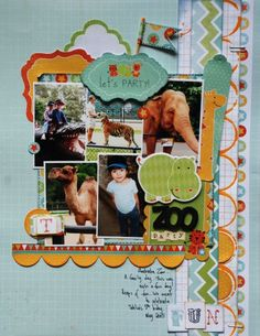 zoo party SCRAPBOOK LAYOUT