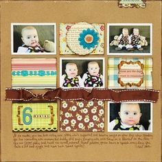 Scrapbooks Etc. - Young Baby Scrapbook Layout...cute idea for Eli & Evelyn page