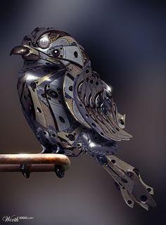 Steampunk Bird by Janny Dangerous mixed media metal assemblage bird sculpture art