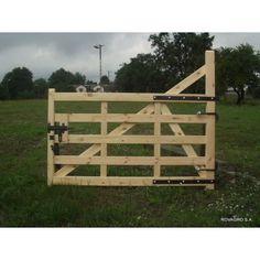 Portail en bois 300 x 120/160 cm avec gonds et verrou