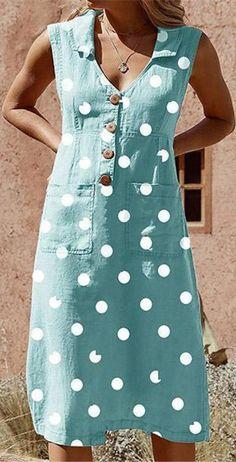 Plus Size Elegant Buttoned Down Polka Dot Pockets Dress herhershoes Plus Size Dresses, Cute Dresses, Casual Dresses, Fashion Dresses, Summer Dresses, Mode Plus, Linen Dresses, Mode Outfits, Dot Dress