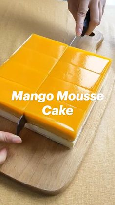 Mango Mousse Cake, Coconut Mousse, No Bake Desserts, Mango Dessert Recipes, Cooking Time, Cooking Recipes, Mango Pudding, Chocolate Mousse Cake, Almond Cakes
