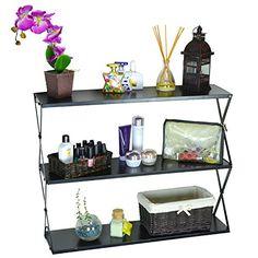 MyGift 35 x 30 inch 3 Tier Storage Shelf, Wall Mountable Bookcase, Black