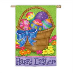 """Bright and Colorful """"Happy Easter Basket"""" Suede Outdoor Garden Flag"""