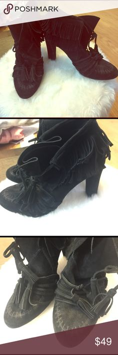 ZARA_black suede fringe ankle knee boots_SZ37 ZARA_black suede fringe ankle knee boots_SZ37 Zara Shoes Ankle Boots & Booties