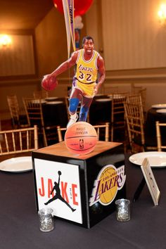 Basketball Themed Bar Mitzvah Photo Cube Centerpiece with Team Logo