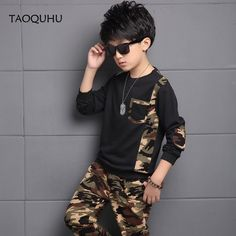 Online Shop Ropa De Ninos Varones Kids Ciothes Fashion Camouflage Clothing Children Pullover Long Sleeve T-shirt +Pants Set Kids Boy Outfits Kids Clothes Boys, Toddler Boy Outfits, Kids Boys, Kids Outfits, Children Clothing, Camouflage Fashion, Camouflage Clothing, Boys Party Wear, Clothing Haul