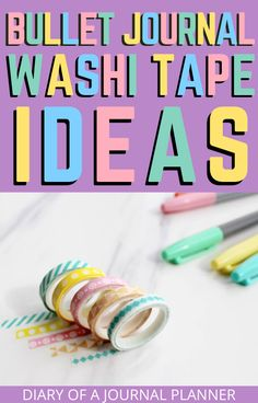 Read here for 40 brilliants ideas for using washi tape in your bullet journal. From decorating to covering mistakes, it is a must for every bullet journal lover! Washi Tape Uses, Washi Tape Storage, Washi Tape Wall, Washi Tape Crafts, Bullet Journal For Beginners, Bullet Journal Hacks, Bullet Journal How To Start A, Bullet Journal Washi Tape, Bullet Journal Printables