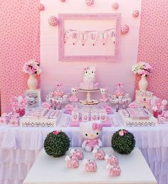 Pink Hello Kitty birthday party! See more party ideas at CatchMyParty.com!