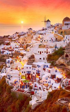 Santorini, Greece at sunrise. Romantic Holiday Destinations, Travel Destinations, Amazing Destinations, Romantic Vacations, Romantic Travel, Romantic Getaway, World Beautiful Places, Most Romantic Places, Amazing Places