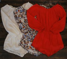 Our off the shoulder playsuit in red, white, and also orange and blue floral! #UandIBoutique #Auburn #Mobile #Tigers #Jags #Romper #Red #White #Blue&White #Floral #Playsuit #Spring #Festival #OffTheShoulder #Comfy #DressUp #DressDown #ShopUandI #Love #Fashion #Clothes #Want #Need #GameDay #UandIBabes