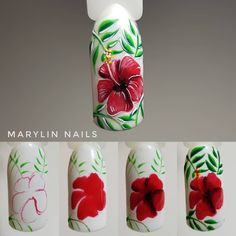 """Receive excellent pointers on """"nail paint ideas polish easy"""". They are on call for you on our internet site. Nail Art Fleur, Rose Nail Art, Floral Nail Art, Rose Nails, Nail Art Diy, Flower Nails, Nail Art Tropical, Tropical Nail Designs, Diy Nail Designs"""