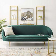 Living Room Sofa, Living Room Furniture, Living Room Decor, Bedroom Couch, Sofa Beds, Bedroom Office, Sofa Green, Velvet Green Couch, Emerald Green Sofa