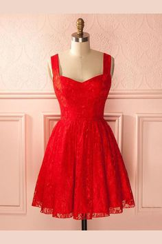 Outlet Light A-Line Homecoming Dresses, Homecoming Dresses Red, Lace Red Homecoming Dresses, Short Prom Dress Simple Homecoming Dresses, A Line Prom Dresses, Cheap Prom Dresses, Dresses For Teens, Red Lace Prom Dress, Dress Red, Dresses Short, Dresses Dresses, Casual Dresses