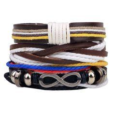 Hot selling 1Set 4pcs Punk Braided Adjustable Leather Bracelets Men For Women Cuff Vintage Jewelry Wholesale Pulseras Hombre 5a317