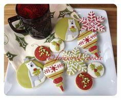 Fernwood Cookies:  Vintage Christmas ornaments, snowflakes, mistletoe,  and holly leaves.
