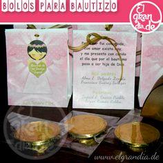 diseño de Bolos para Bautizo ✔diseño e impresión de bolsita ✔moneda de chocololate ✔listón  ✔realce de corazón ¡Lista para regalar!