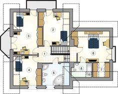 DOM.PL™ - Projekt domu Mój Dom Tapien CE - DOM BM2-70 - gotowy koszt budowy Tiny Studio Apartments, Apartment Floor Plans, Modern House Plans, Home Fashion, House Design, Flooring, How To Plan, House Styles, Scale