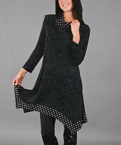 Look at this #zulilyfind! Deep Gray Polka Dot Handkerchief Tunic - Plus #zulilyfinds