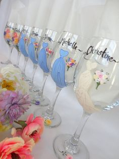 Hand Painted Personalized Bridal Party Wine Glasses - Painted to REPLICATE Your EXACT DRESSES on Etsy, $26.00