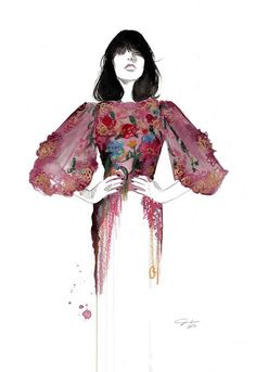 Italian Opulence print from original fashion illustration by Jessica Durrant. From this illustration you can assume that the main detail is in the bodice and sleaves. I like the use of mixed media. Illustration Mode, Fashion Illustration Sketches, Fashion Sketchbook, Fashion Design Sketches, Fashion Drawings, Pastel Fashion, Fashion Art, Fashion Styles, Fashion Trends