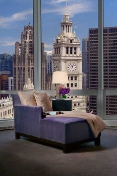 Penthouse Life- Luxury Chaise Lounge- ~ R/ C~ Condo Living, City Living, Home And Living, Home Interior Design, Interior And Exterior, Appartement New York, Vivre A New York, Black And White Dining Room, Luxury Penthouse