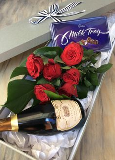 Spoil her with a Super Indulgence Pack from Simply Stems - Roses, Champagne and Chocolate  www.simplystems.com.au Stems, Simply Beautiful, Floral Arrangements, Champagne, Birthdays, Roses, Gift Wrapping, Valentines, Table Decorations