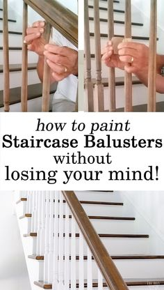 Home Improvement DIY. How to makeover a staircase and paint the  balusters and risers with paint and primer.