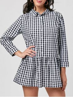 Plaid Long Sleeve Drop Waist Dress - Black White 2xl #Shoproads #onlineshopping #Dresses