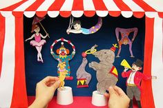 Make an exciting circus shoebox diorama featuring your favorite circus animals and circus performers. With a few added steps, you can also turn your diorama into a fun circus puppet theater. Daycare Crafts, Fun Crafts For Kids, Projects For Kids, Art For Kids, Art Projects, Kids Fun, Circus Crafts, Circus Art, Circus Theme