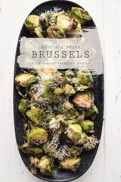 Air Fryer Brussels Sprouts with Garlic Parmesan - All Day I Dream About Food Healthy Brussel Sprout Recipes, Shredded Brussel Sprout Salad, Sprouts With Bacon, Healthy Chicken Recipes, Healthy Breakfast Recipes, Keto Recipes, Healthy Foods, Atkins Recipes, Bariatric Recipes